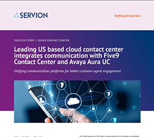 Leading US based cloud contact center integrates communication with Five9 Contact Center and Avaya Aura UC